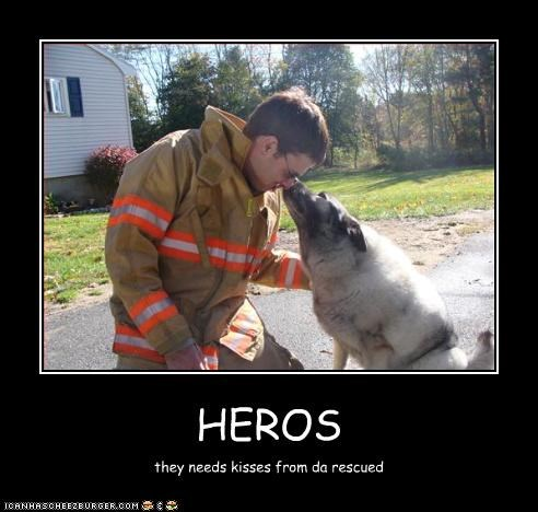 HEROS they needs kisses from da rescued