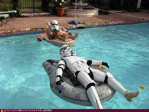 costume,landspeeder,pools,star wars,stormtrooper,wtf