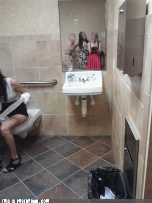 art bathroom caught in the act girls shopped