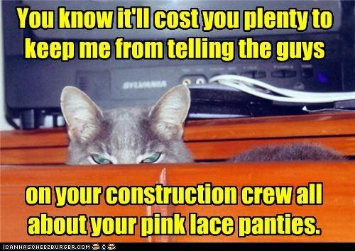 Extortion is a bitch You know it'll cost you plenty to keep me from telling the guys on your construction crew all about your pink lace panties.