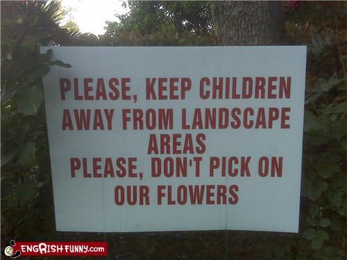 flowers,sign,warning