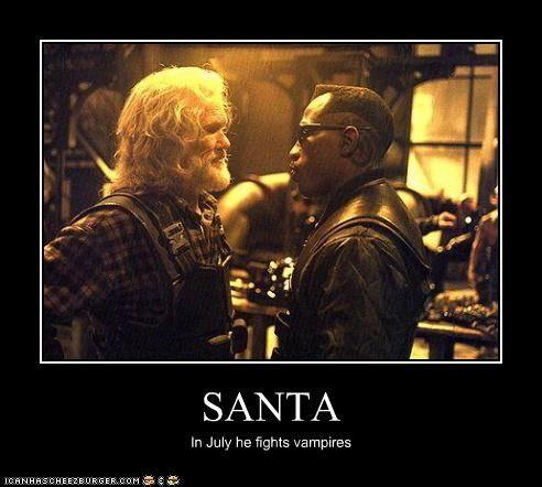 actors,blade,fight,kris kristofferson,movies,santa claus,vampires,wesley snipes
