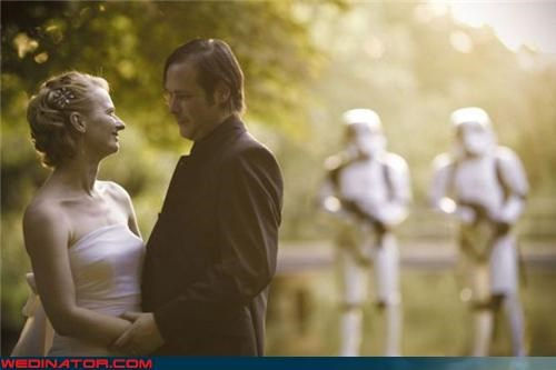 at at,bride,Crazy Brides,crazy groom,fashion is my passion,funny wedding photos,groom,romance,star wars themed wedding,stormtrooper security detail,stormtrooper wedding,stormtrooper,surprise,were-in-love,wedding portrait,Wedding Themes