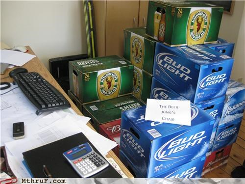 beer,beer case,booze,boxes,cardboard,creativity in the workplace,cubicle boredom,cubicle prank,decoration,drunks,ergonomics,prank,recycle,recycling,sculpture,wiseass,work smarter not harder