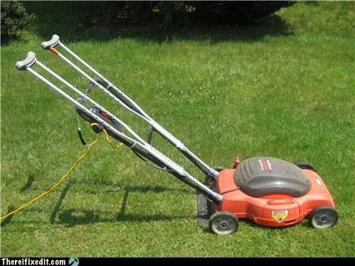 crutches electric lawn care lawn mower plugged in