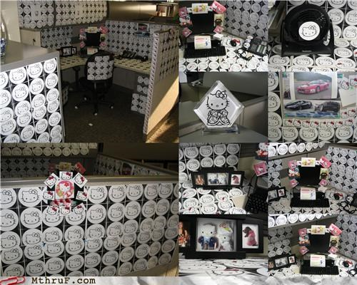 art boredom brand cartoons comic cubicle cubicle boredom cubicle prank decoration dickhead co-workers dumb hello kitty illustration mess prank pwned screw you stickers tacky vandalism wasteful wiseass wrapping - 3591364352
