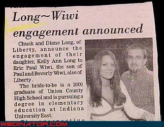 Awkward bride coincidence eww groom miscellaneous-oops surprise were-in-love Wedding Announcement - 3591760896