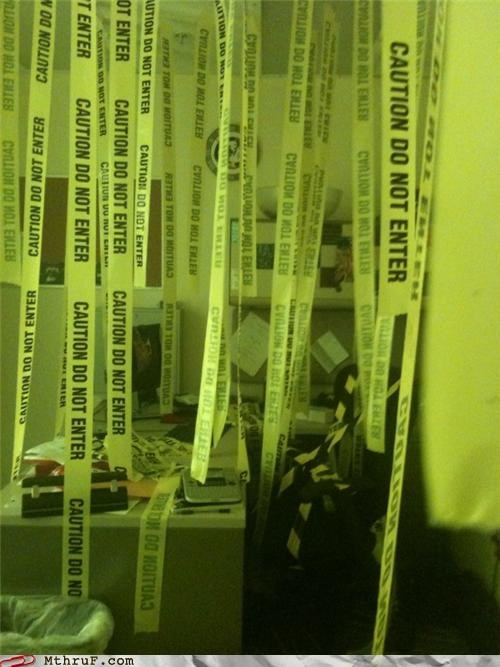awesome co-workers not boredom caution tape crime scene cubicle boredom cubicle prank decoration dickhead co-workers do not enter mess police tape prank pwned sass screw you warning wasteful - 3592164352