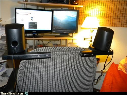 chair computer Mission Improbable mod speakers surround sound - 3592850944