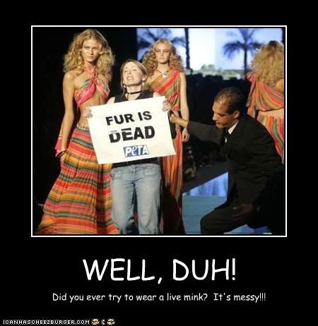 animals fashion fur peta protester stupidity