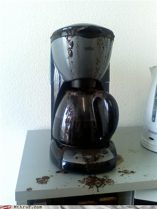 boner,coffee,coffee maker,coffee pot,ctrlz,cubicle fail,cubicle rage,depressing,dickhead co-workers,doye,dumb,gross,hardware,idiot,mess,office kitchen,overfilled,rage,Sad,screw up,screw you,stupid,undo