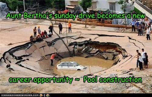Aunt Bertha's sunday drive becomes a new career opportunity ~ Pool construction