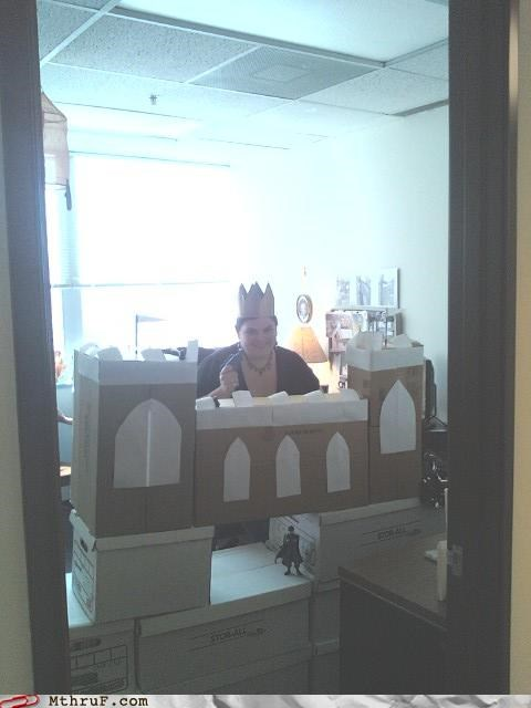 boredom cardboard castle creativity in the workplace crown cubicle boredom cubicle prank decor decoration ergonomics history nerd medieval nerd plague queen rickets sculpture scurvy