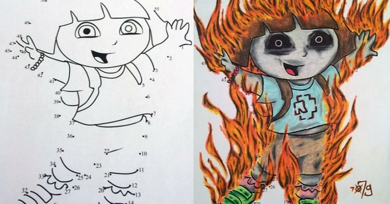 Innocent children's coloring book drawings that were transformed into dark and twisted pictures.