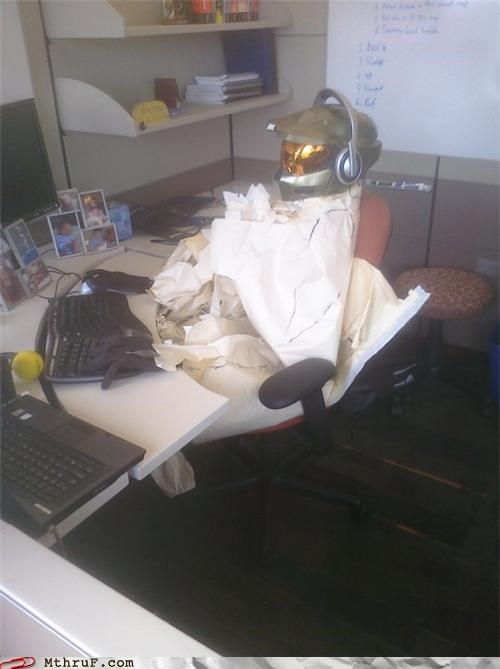 boredom busted creativity in the workplace cubicle boredom cubicle prank decoration decoy fired halo ingenuity lazy master chief mess passive aggressive screw you sculpture stand in substitute video game wasteful wiseass work smarter not harder youre-not-fooling-anyone