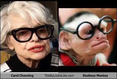 actress Carol Channing glasses monkey singer