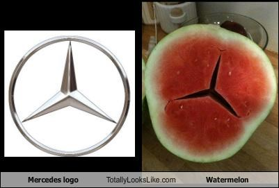cars,food,logo,mercedes,watermelon