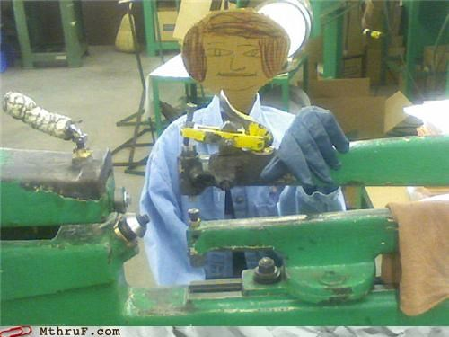 boredom cardboard cardboard cutouts childish drawing creativity in the workplace creepy cutout decoration decoy depressing doodle dummy glove hair helmet hardware machine shop not art replacement robotic robots screw you sculpture sweatshop wiseass work smarter not harder - 3603365632