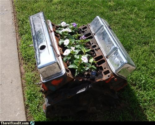 car engine flowers garden recycling-is-good-right yard