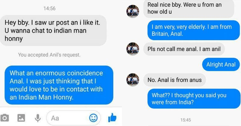 Girl leads a very thirsty scammer along for a hilarious Facebook conversation.