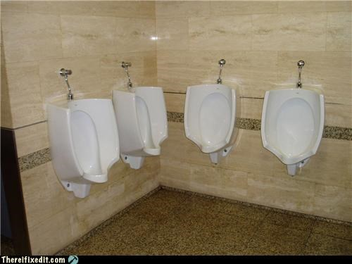 Building code says 4 urinals. It doesn't 4 guys at once.