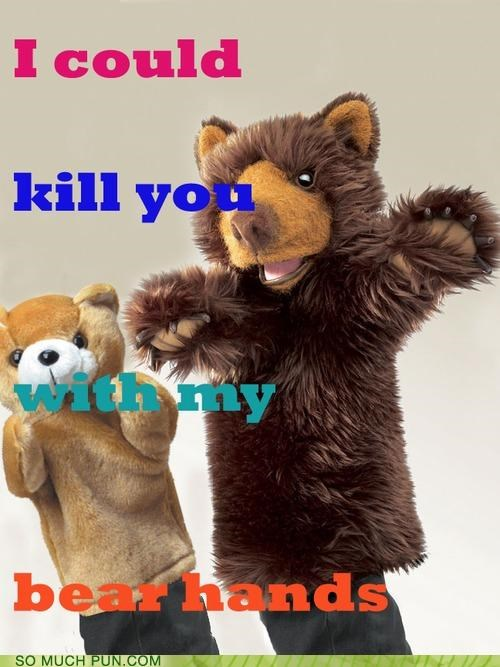 bear,cute,gloves,hands,puns,threatening
