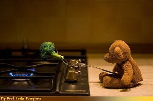 bear,bob,broccoli,fruits-veggies,grill,stove,teddy bear,vegan bear