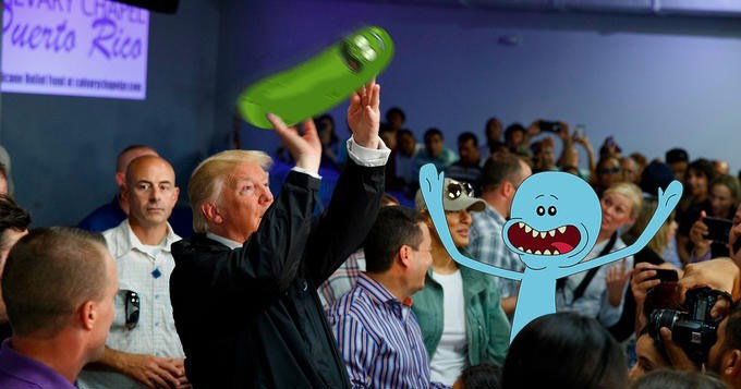 Memes and twitter reactions to Donald Trump tossing paper towels into a crowd of hurricane survivors in puerto rico.