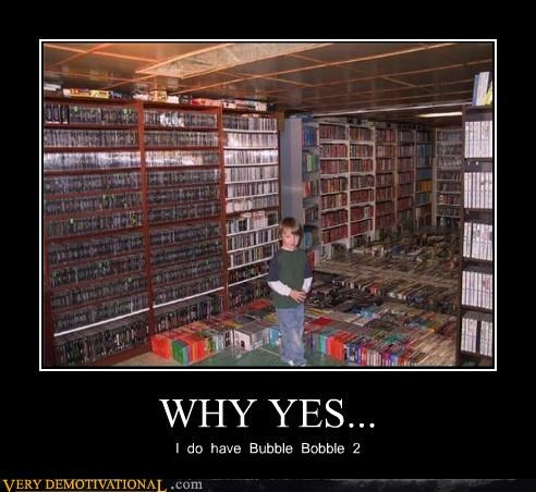 basement,Bubble Bobble 2,kids,massive library,Pure Awesome,storage,Videogames,yes