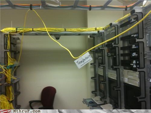 cables cabling cat5 cat6 cubicle fail dickheads ethernet hardware it fail lazy liar mess network osha paper signs Sad sass screw you server room shoddy signage sub-par temporary unsafe work smarter not harder youre-fired - 3608251648