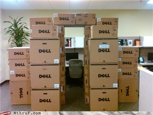 architecture boredom boxes cardboard cardboard boxes construction creativity in the workplace cubicle boredom decoration Dell ergonomics fort fortress mess passive aggressive sass sculpture wiseass work smarter not harder - 3608976640