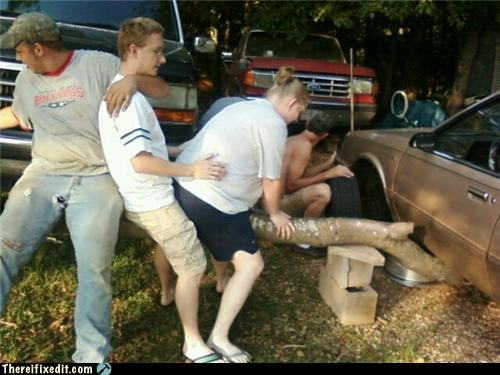 car,groupactivity,jack,log,propped up,unsafe