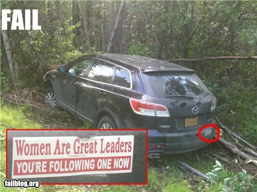 bumper sticker,crash,driving,failboat,women