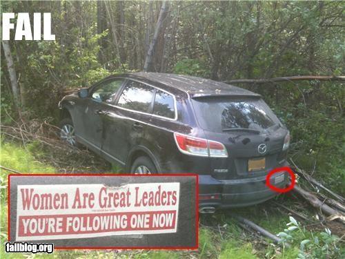 bumper sticker crash driving failboat women - 3609902848