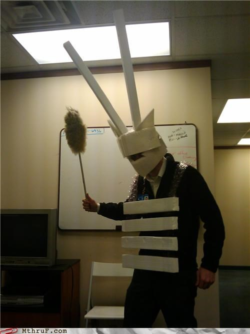 armor,awesome co-workers not,boredom,costume,creativity in the workplace,cubicle boredom,decoration,dickhead co-workers,farting,feather duster,hangover,jokebagturd,monster,not scary,paper,papercraft,retarded,sculpture,Terrifying