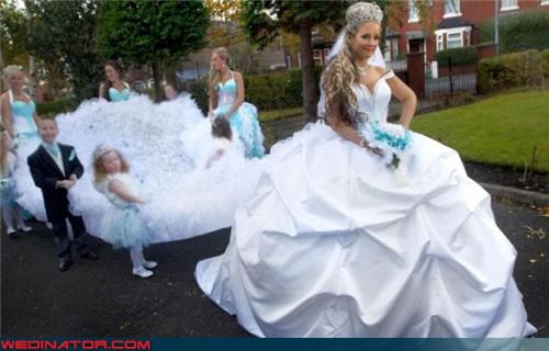 bridesmaids,bridezilla,Crazy Brides,crazy dress,crown,fashion is my passion,hair extensions,poufy,princess bride,technical difficulties,tiara,train,wedding dress train,wedding party,wtf