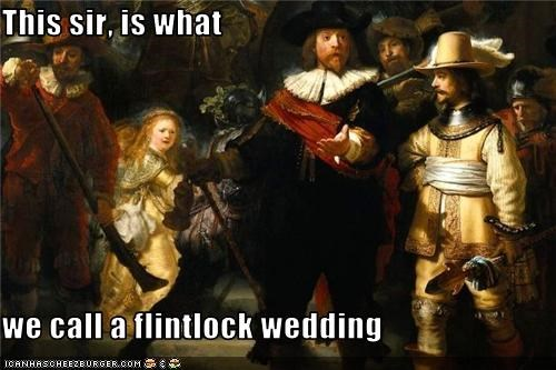 gentlemen,group scene,gun,painting,wedding