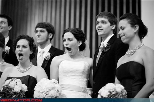 Crazy Brides crazy groom funny faces group shot Kodak moment miscellaneous-oops shakeskin star-spangled banner technical difficulties wedding party whoops wtf yawn
