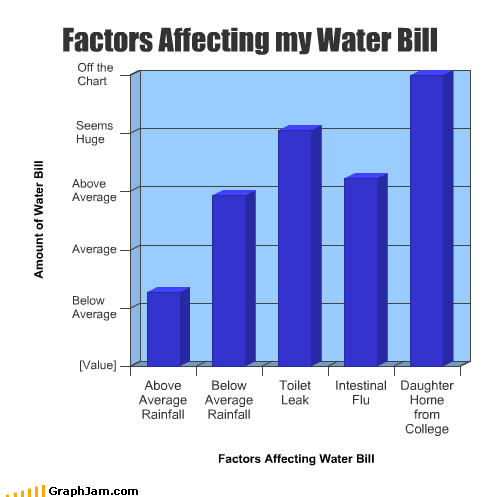 average,Bar Graph,bill,college,daughter,factors,huge,leak,rain,sick,toilet,water