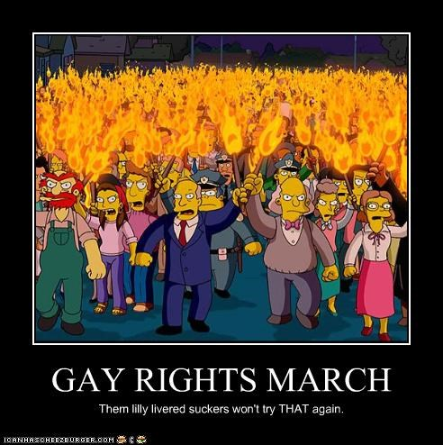 GAY RIGHTS MARCH Them lilly livered suckers won't try THAT again.