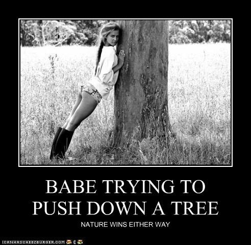 BABE TRYING TO PUSH DOWN A TREE NATURE WINS EITHER WAY