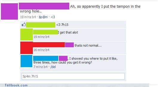 Fictional Facebook Fun,gross,lady time,please be a joke,TMI