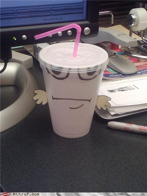 anthropomorphic aqua teen hunger force art athf awkard boredom cartoons cartoon character creativity in the workplace cubicle boredom cup decoration depressing dickheads doodle drink personification Sad sculpture soda soda fountain cup straw styrofoam TV work smarter not harder