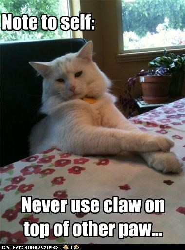 Note to self: Never use claw on top of other paw...