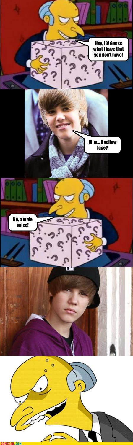 boxes,cartoons,celebutard,gender,justin beiber,mr burns,surprise,the simpsons