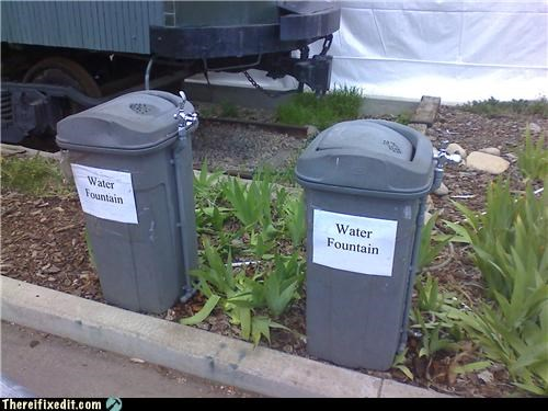garbage Professional At Work tax dollars at work trash can water water fountain - 3621421568