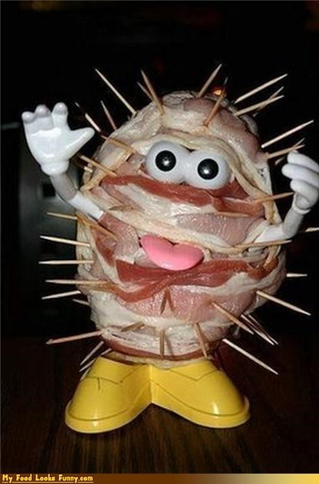 bacon,meat,mr potato head,potato,toothpicks,toys