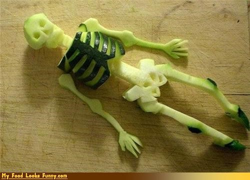 carving cucumber dead fruits-veggies skeleton skull - 3621689600
