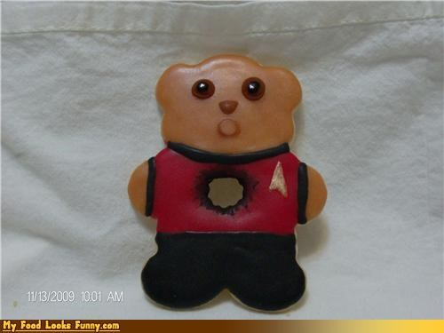 bear cookies hole red shirt Star Trek Sweet Treats