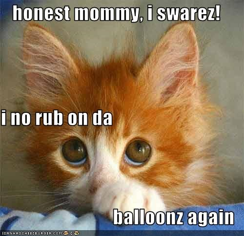 animated gifs,balloon,gifs,kitten,pop,shock,static electricity,surprise